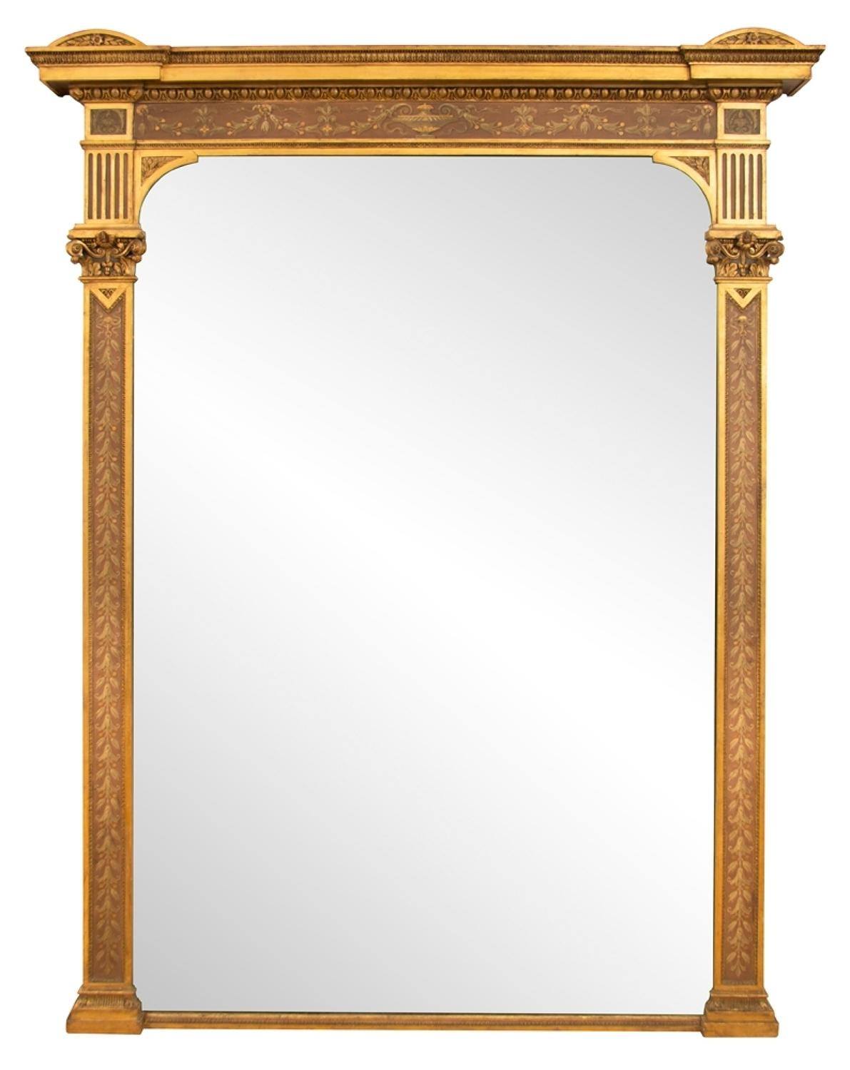 A superb 1800's Large Antique Gilded and painted overmantle mirror