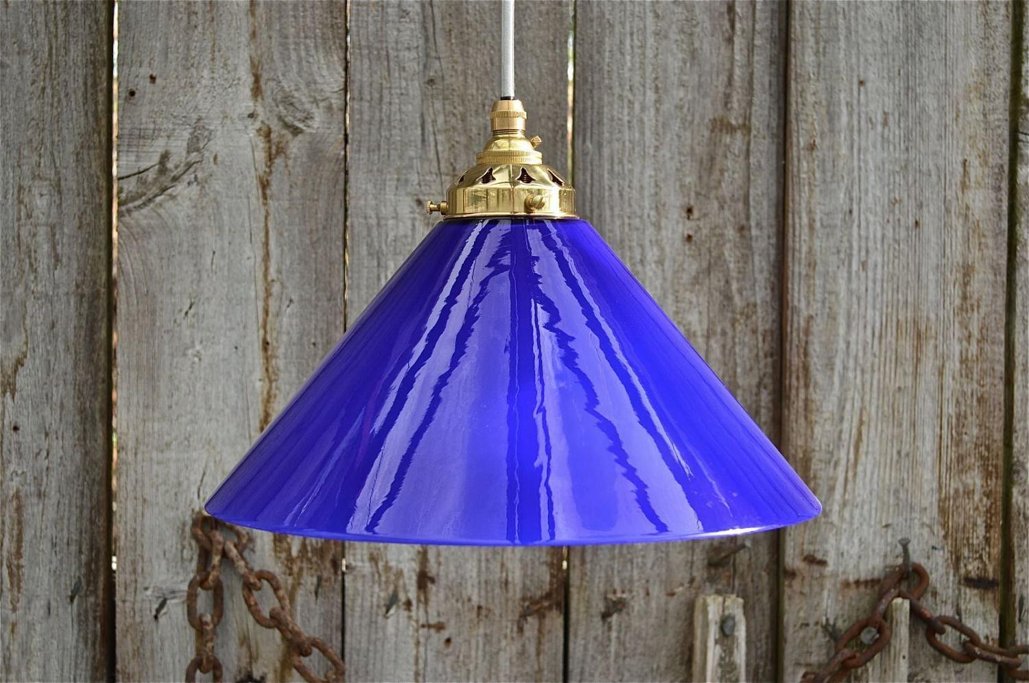 Vintage handmade Italian blue glass cooli pendant light lamp