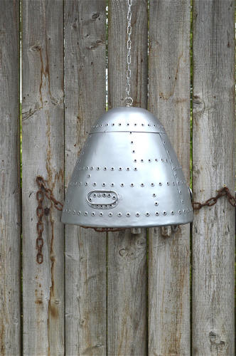 Large vintage aircraft nose cone hanging light aviator pendant shade h