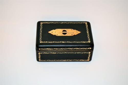 Early Victorian leather bound jewellery box