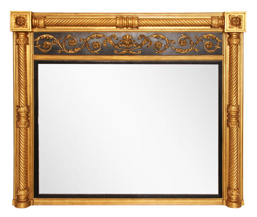 Regency English Overmantle Mirror with Original Mercury Glass