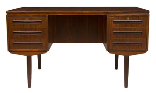 An exotic timber Danish midcentury designer desk
