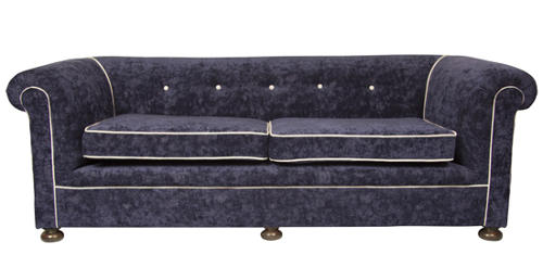 A Victorian crushed velvet reupholstered sofa