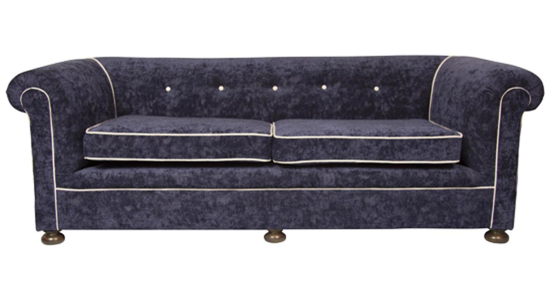 A Victorian crushed velvet reupholstered sofa