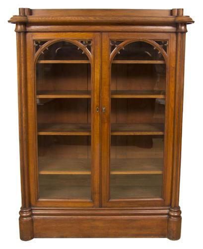 A Gothic Oak Bookcase in the Pugin style