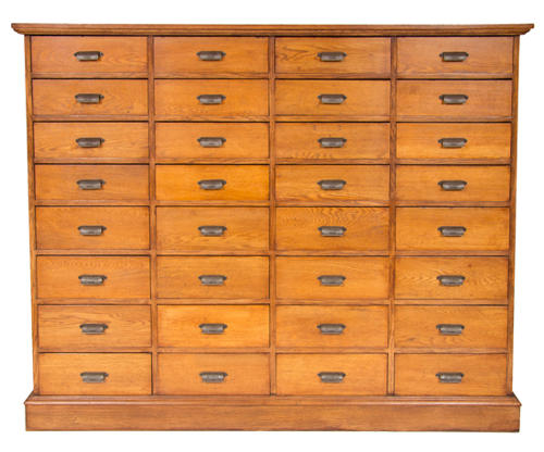 Vintage large bank of oak drawers