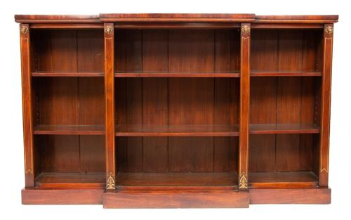 Regency Breakfront Bookcase with Brass Inlay