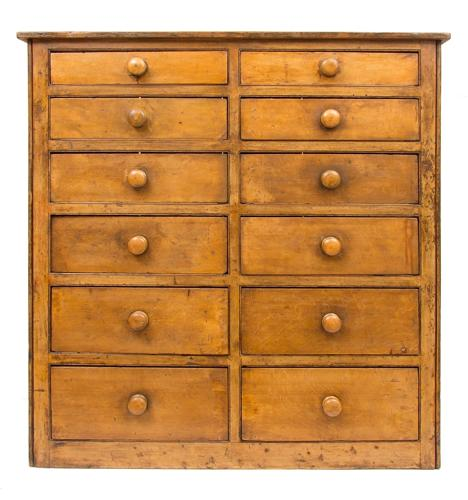 Victorian Manor House Keeper's Bank of Drawers