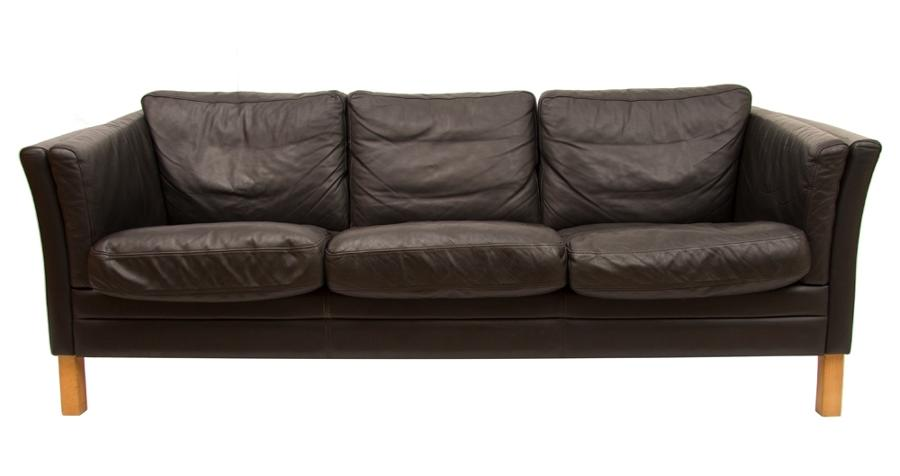 3 Seater Black Leather Sofa by Mogens Hansen c.1970's