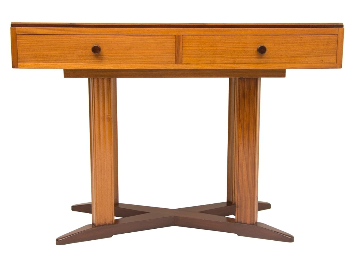 2 Drawer Walnut Writing Table by Heals, British c.1950