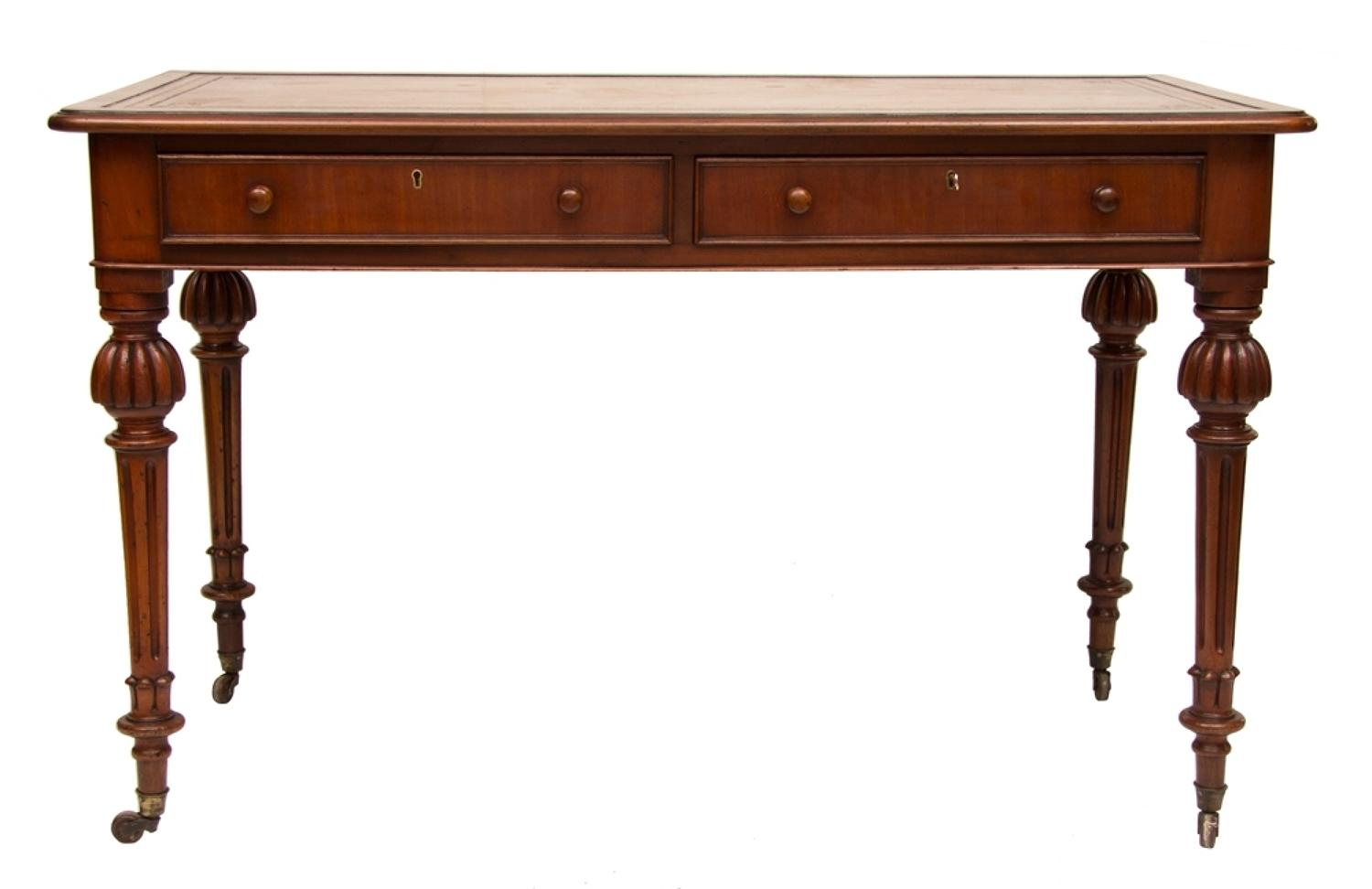 A Victorian Mahogany 2 Drawer writing table with Fluted Legs on Caster