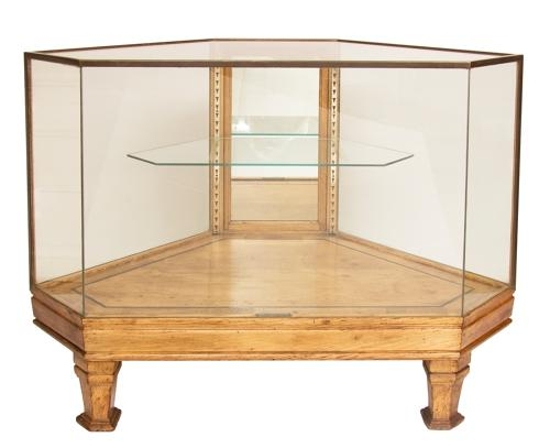 1920s Oak & Brass Shop Display Cabinet