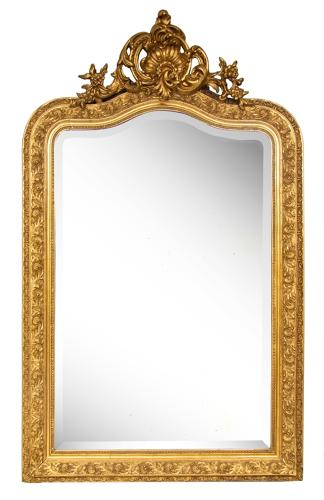 French crested antique gilded mirror