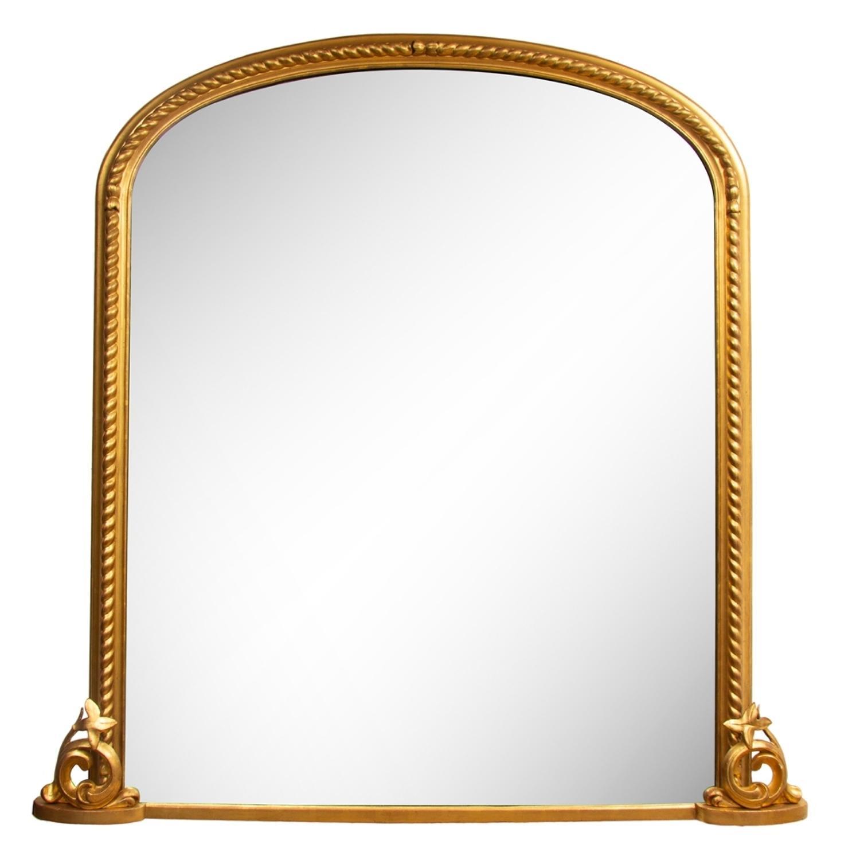 Superb large antique gilded overmantle mirror