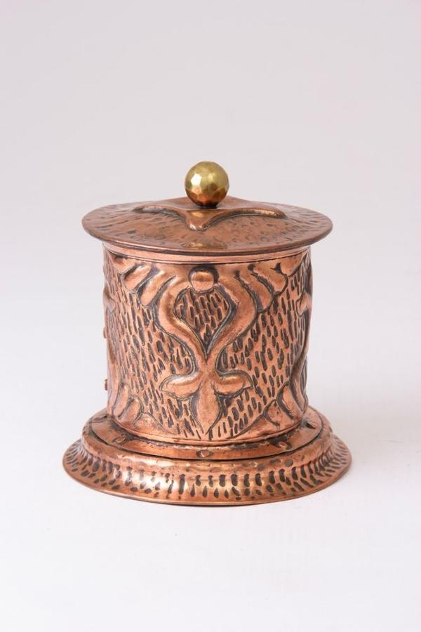 Repousse Copper Arts & Crafts Tobacco Pot c.1910