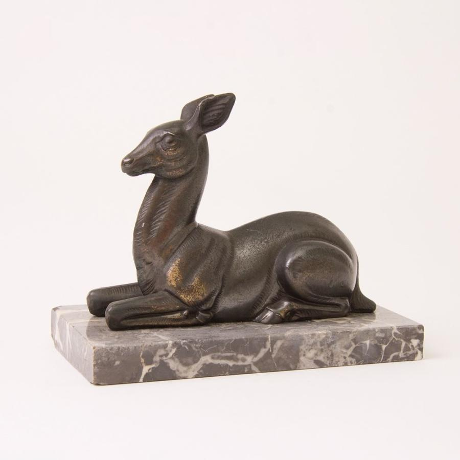 Art Deco Deer on Marble Stand