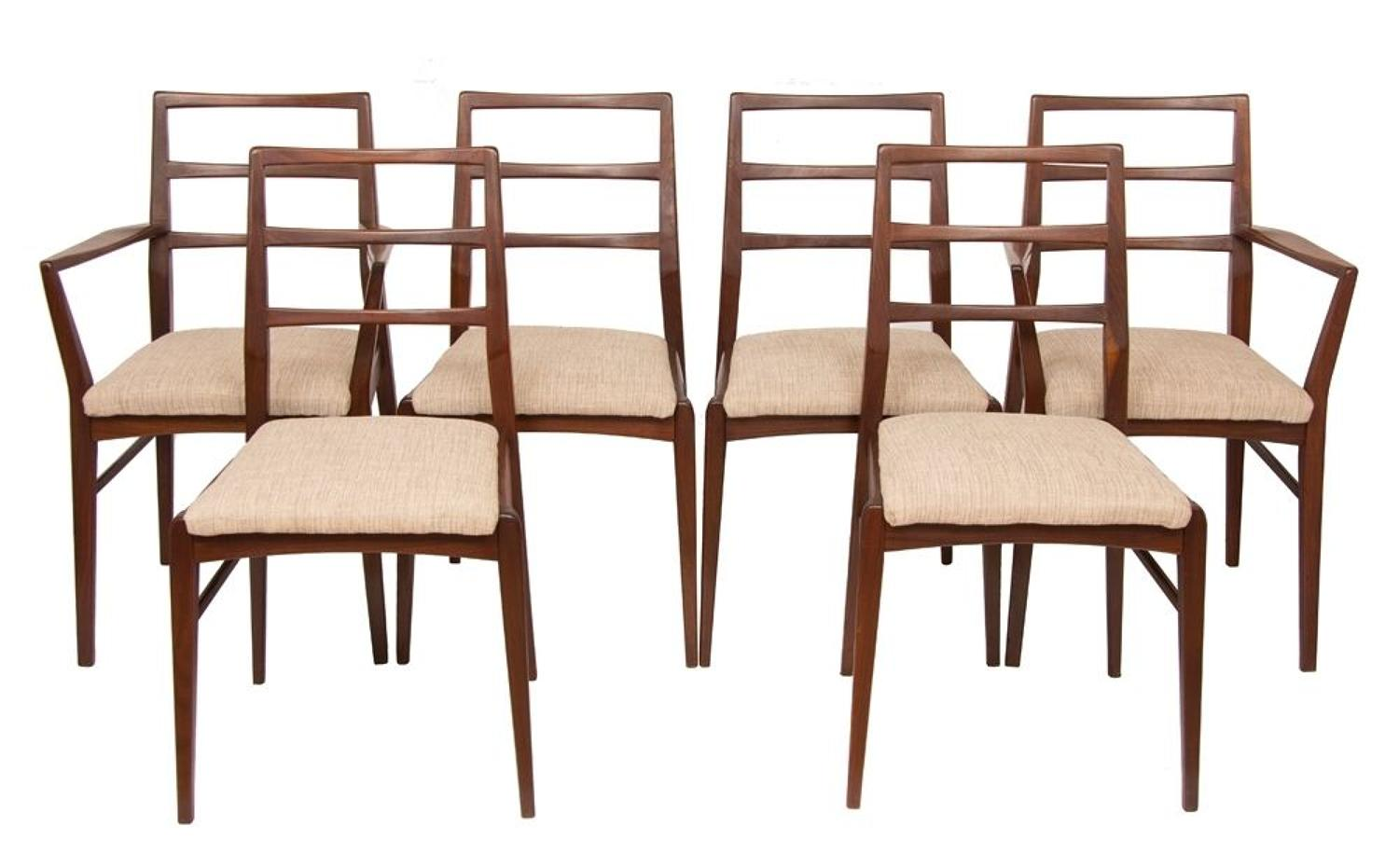 Set of 6 Ladder Back Dining Chairs c.1970