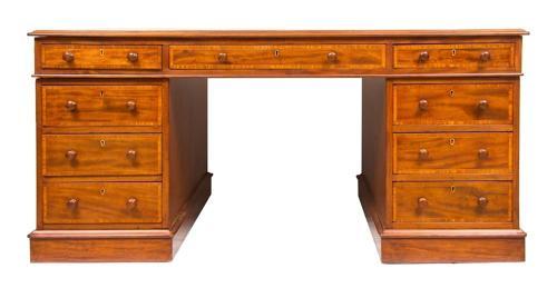 Mahogany Cross Banded Partners Desk