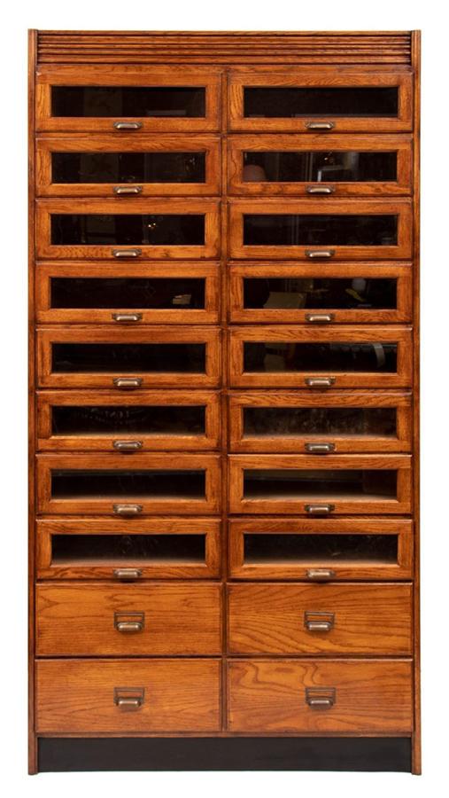 Vintage Style Oak Haberdashers Cabinet