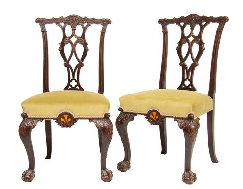 Mahogany Chairs with Specimen Wood Inlay c.1860