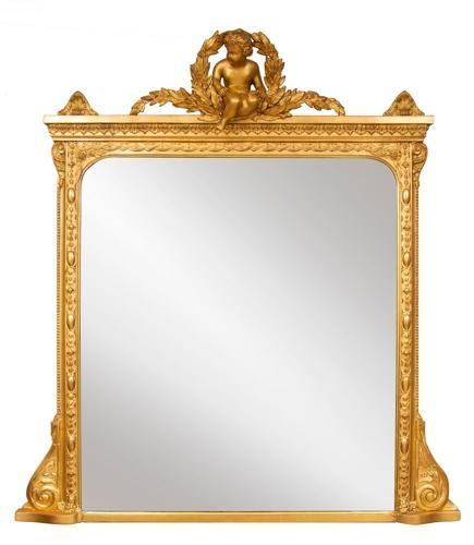English Overmantle Mirror with Cherub c.1870