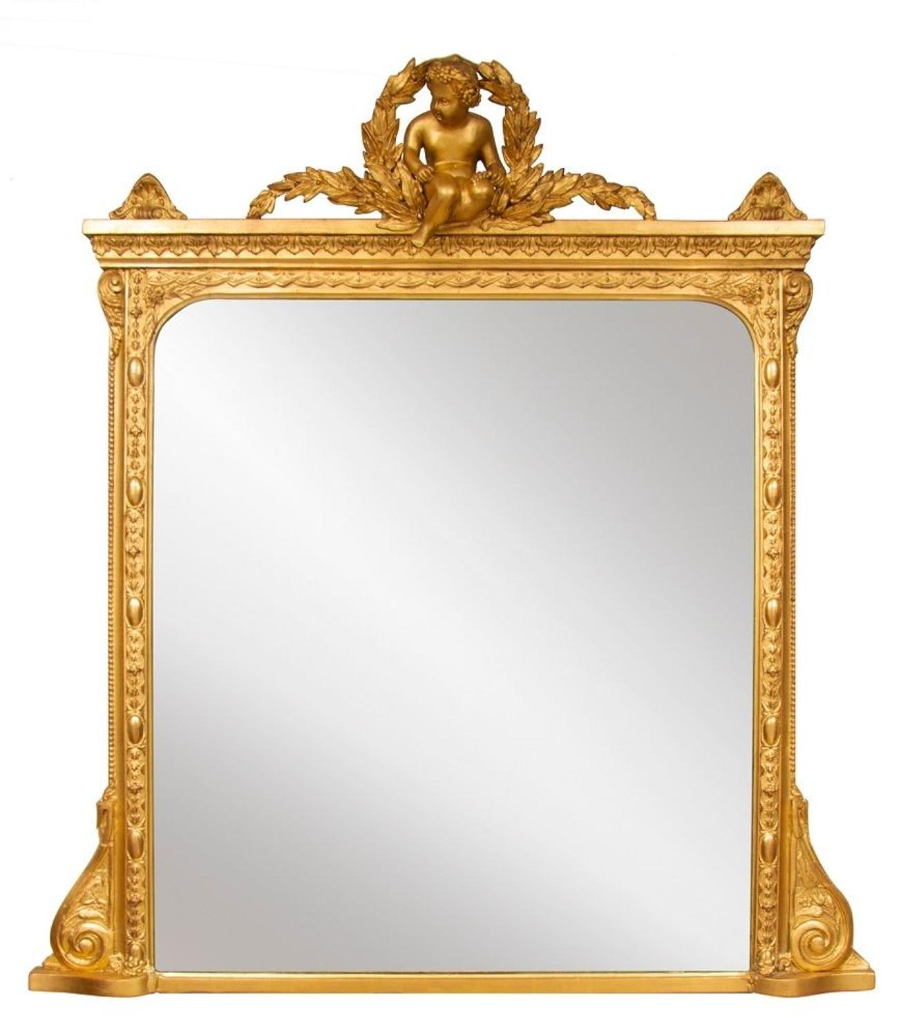 English Overmantle Mirror with Cherub c.1870