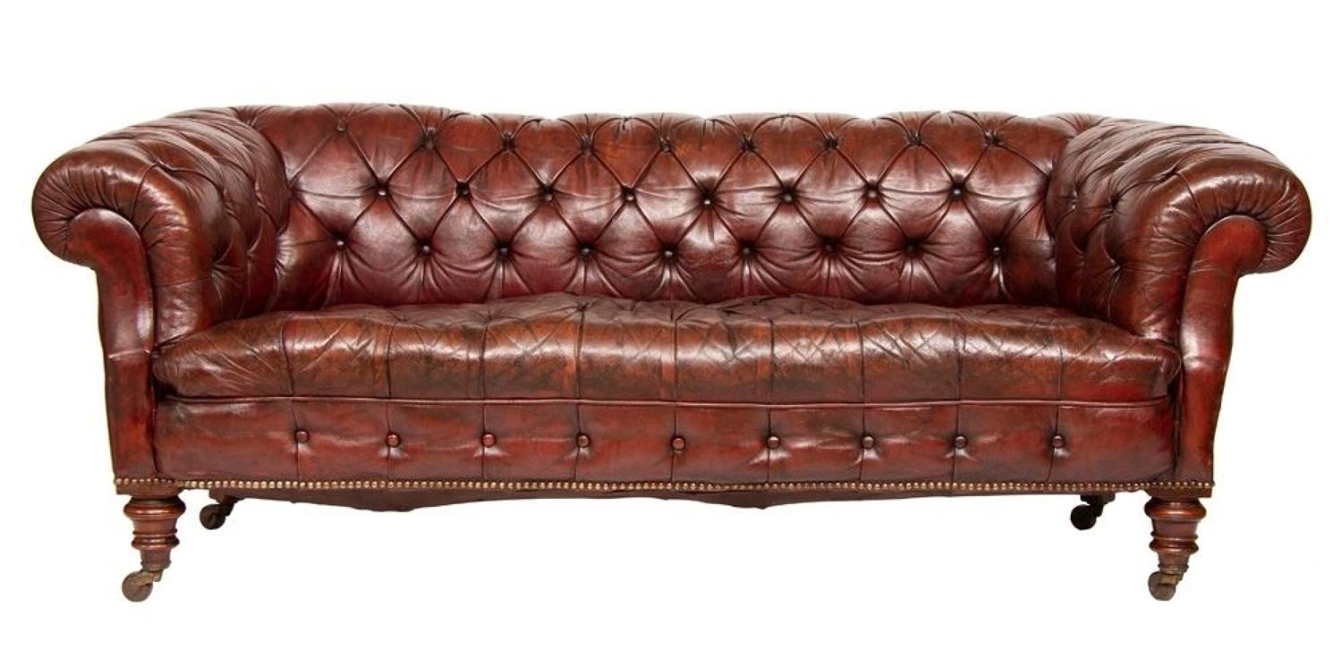 Mid 19th Century Victorian Leather Buttoned Sofa
