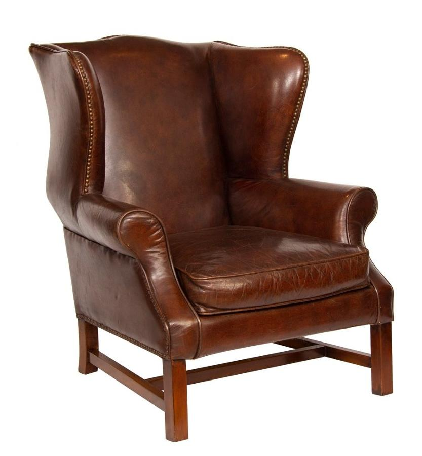 Vintage Brown Leather Hide Wing Chair