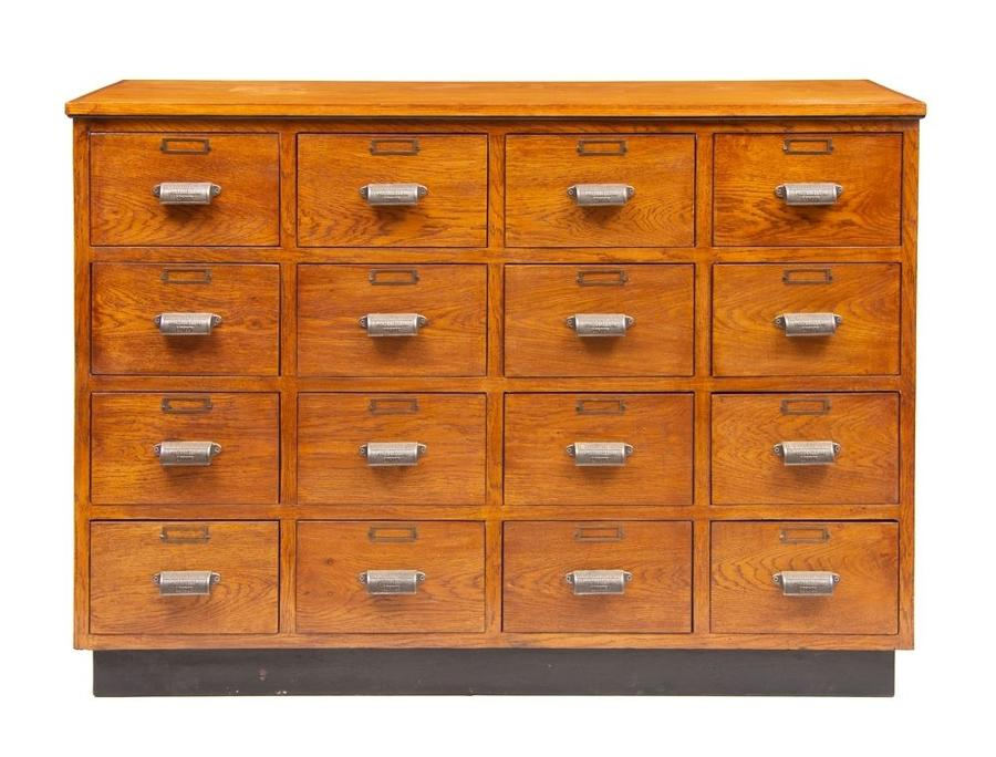 Vintage Style Shop Fitted Bank of Drawers