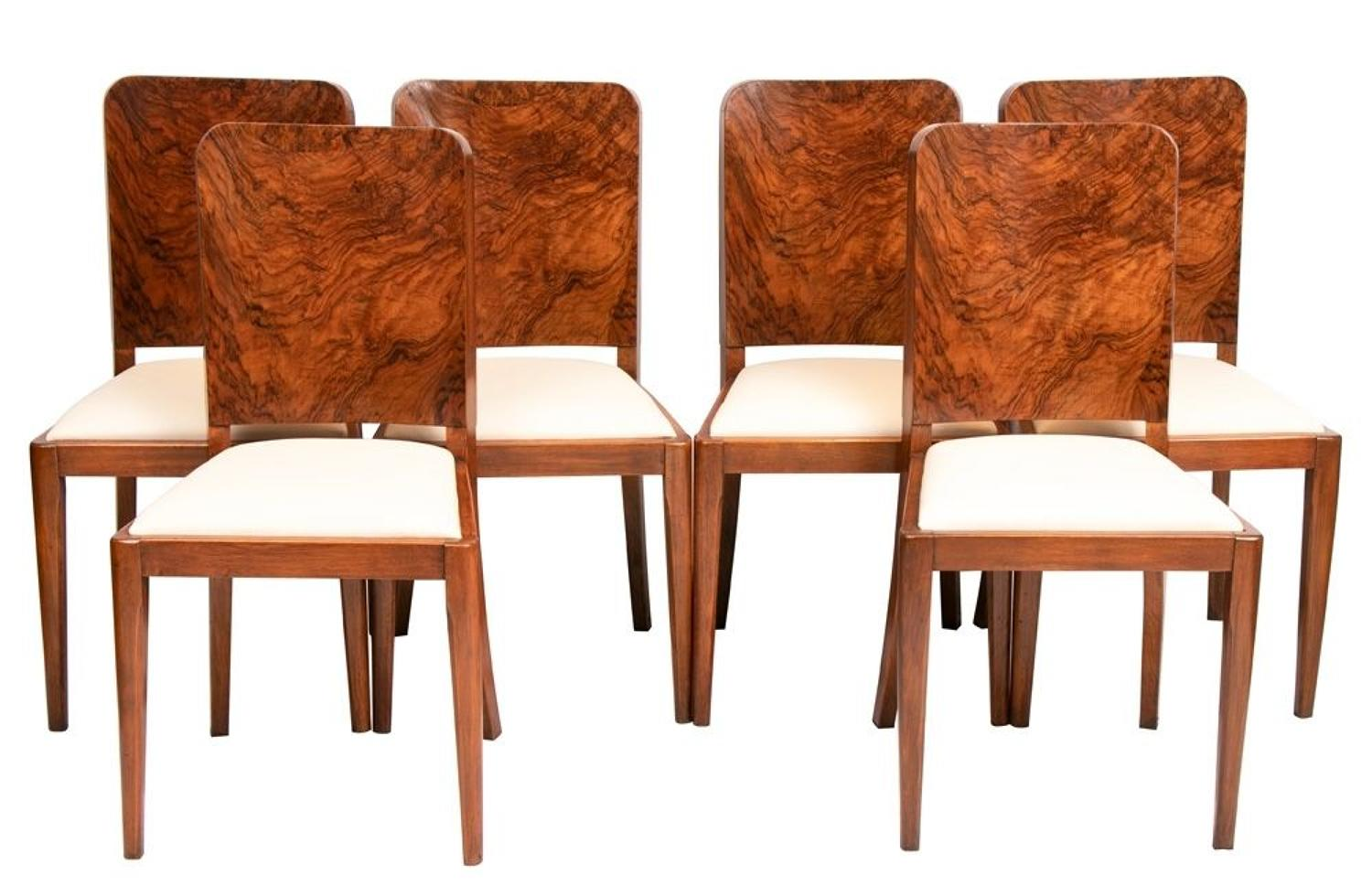 Set of 6 British Art Deco Dining Chairs