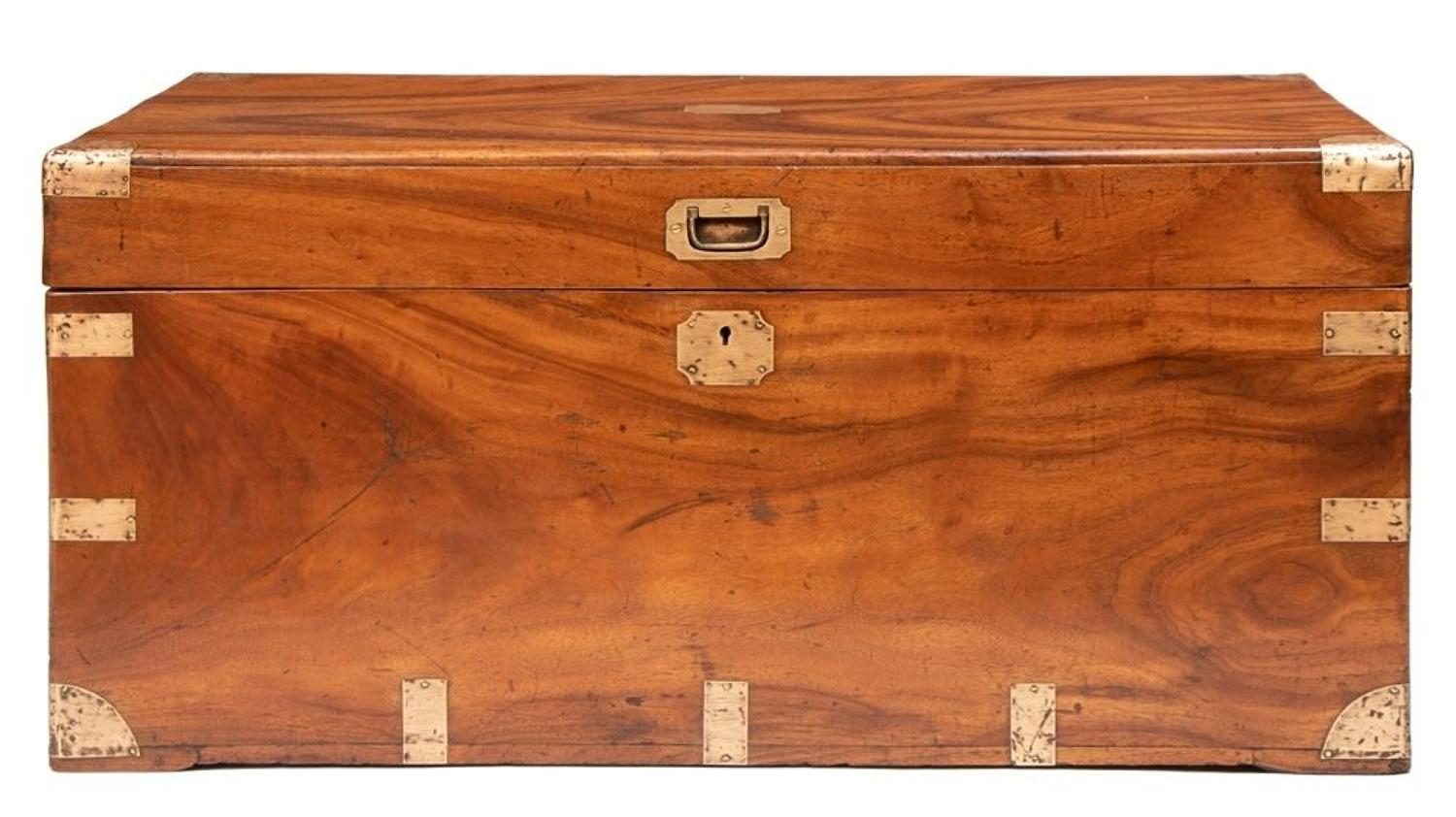 Superb Camphor Wood Military Trunk c.1850