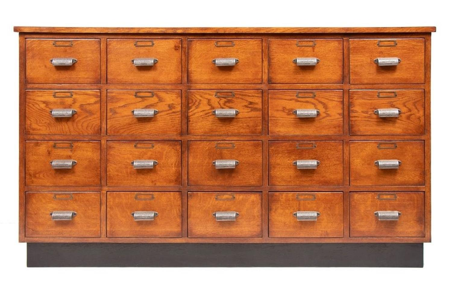 Vintage Style Oak Bank of Drawers