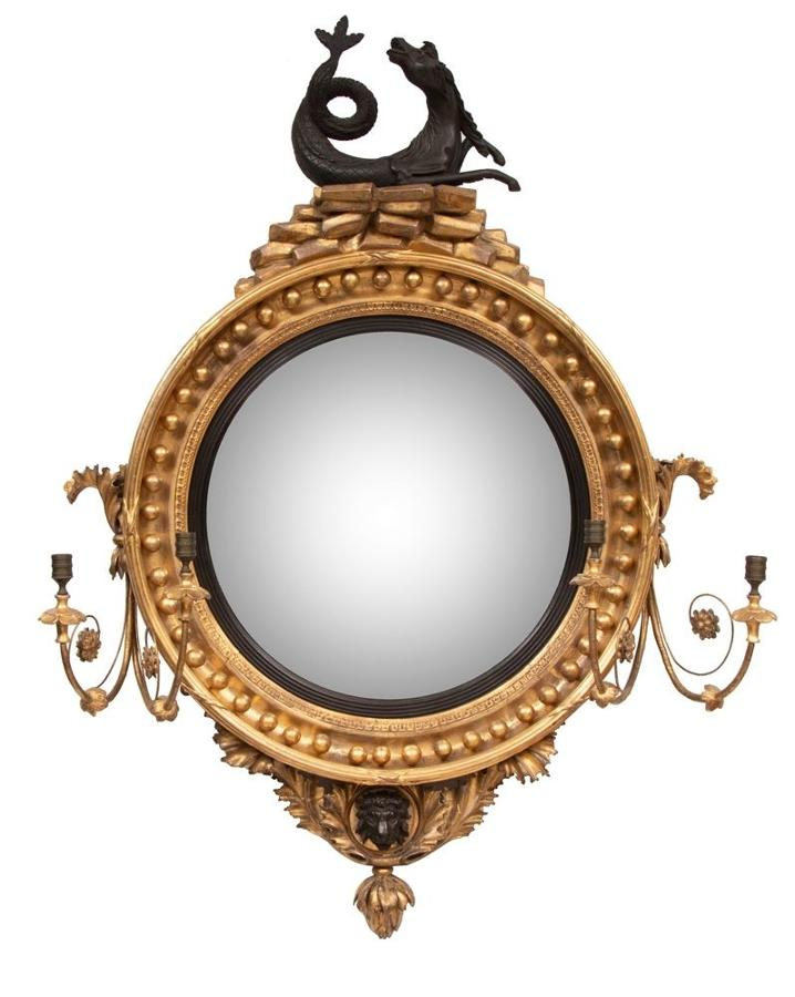 Antique Regency Hippocamp Convex Mirror with Gilded Frame