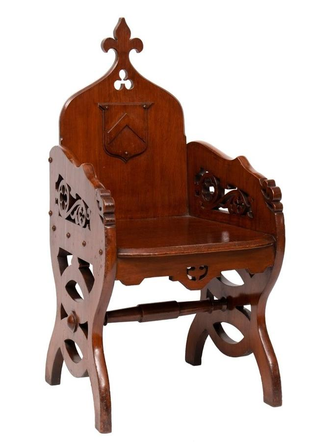 19th C ecclesiastical Gothic revival Priests' chair