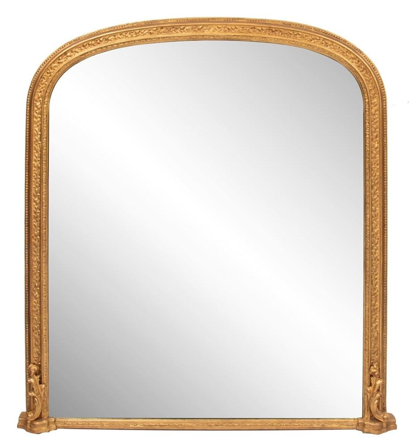 English Antique Gilded Overmantle Mirror c.1860