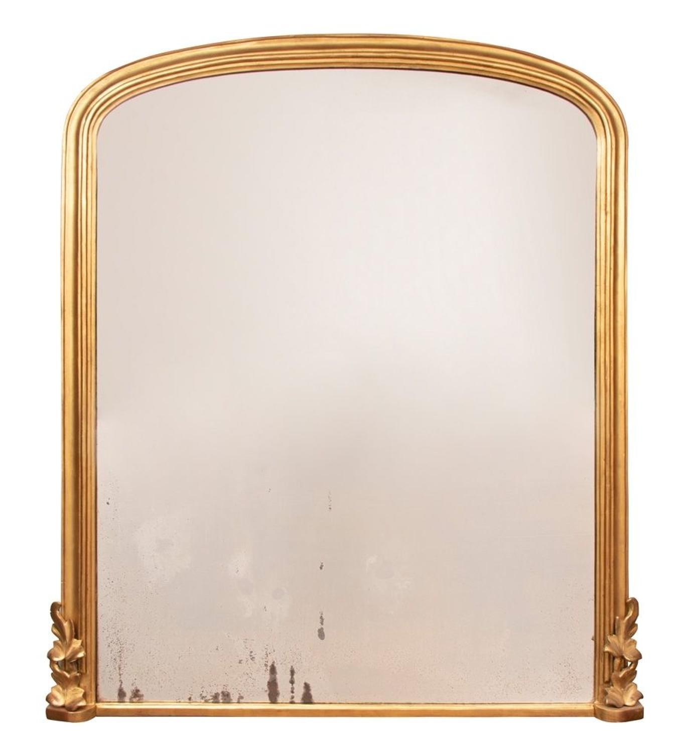 English Antique Overmantle Mirror c.1870