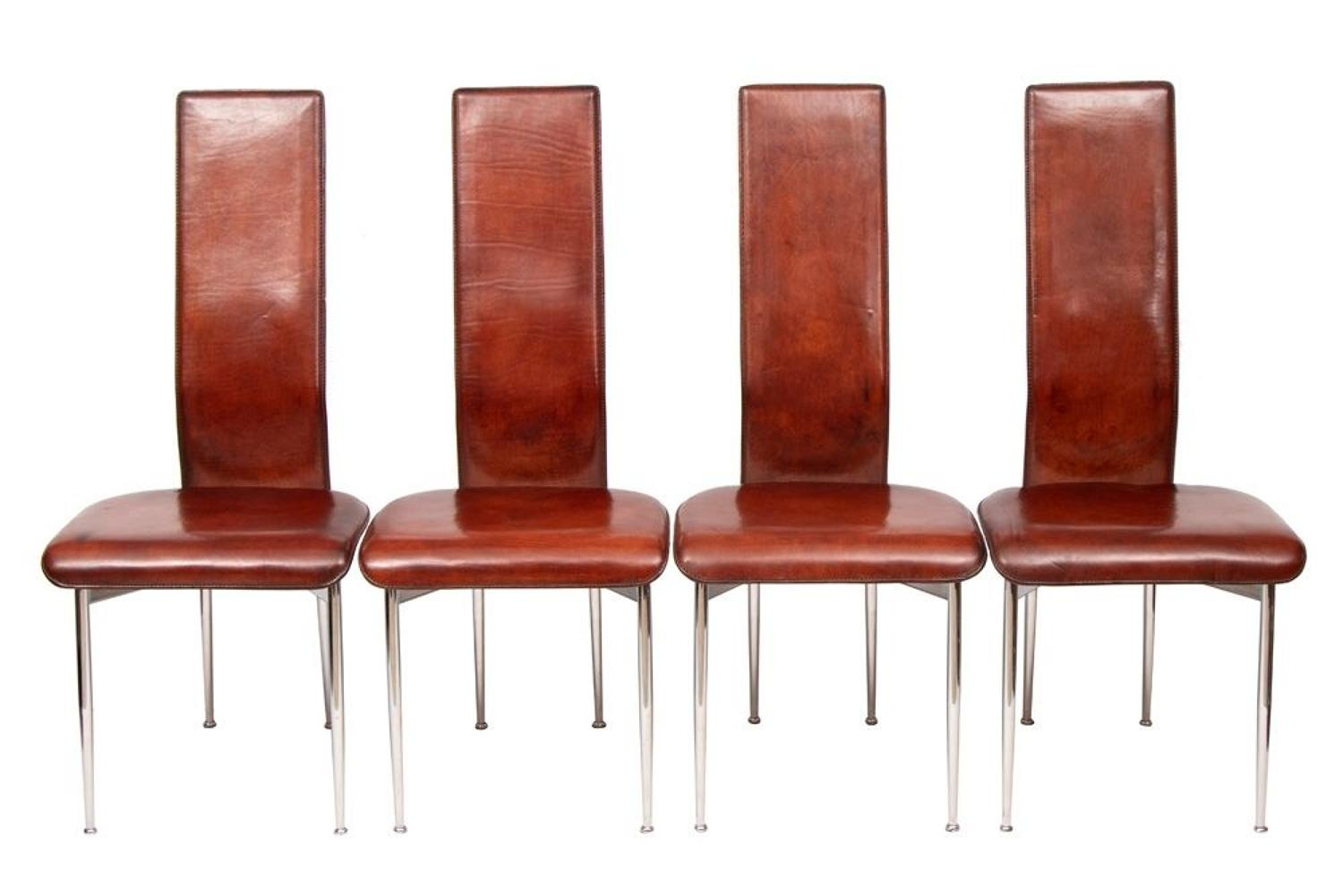 Set of 4 Leather S44 Dining Chairs by Giancarlo Vegni for Fasem c.1990
