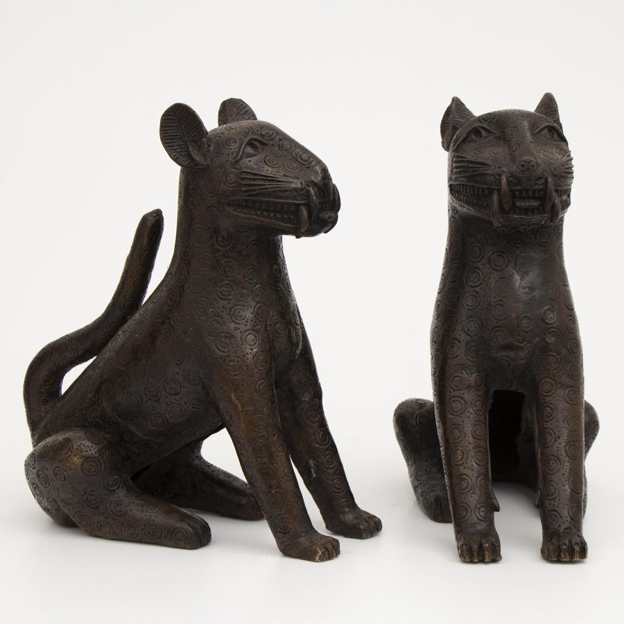 A pair of Benin Bronze Leopards Circa 1920-1940's