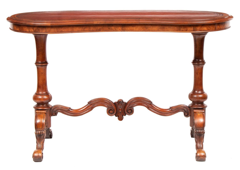 19th Century Walnut Kidney Shaped Writing Desk