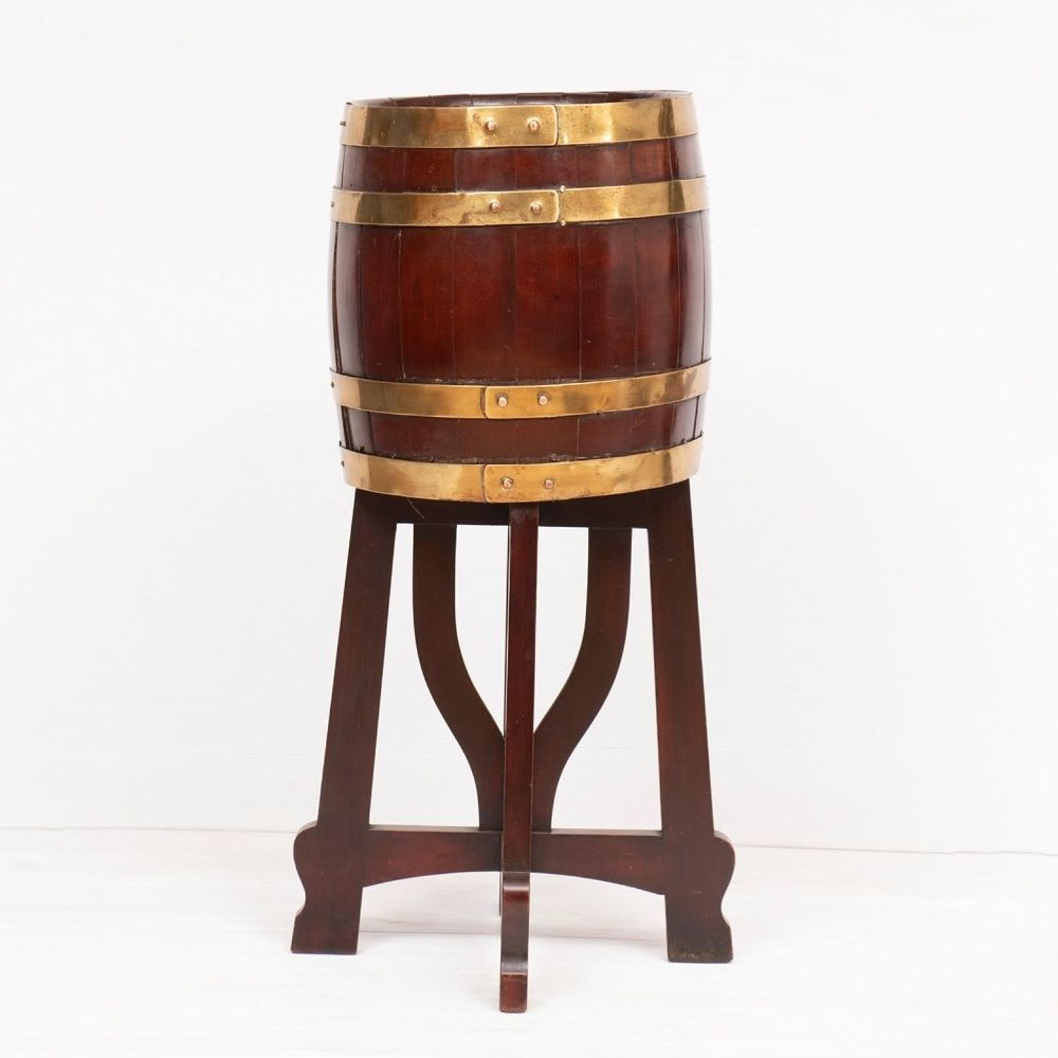 An Antique Irish Peat Barrel on Stand