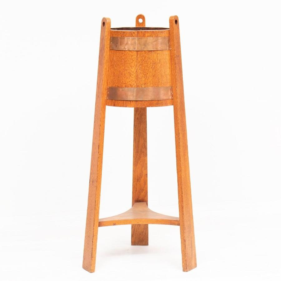 Arts & Crafts Plant Stand in Oak & Copper