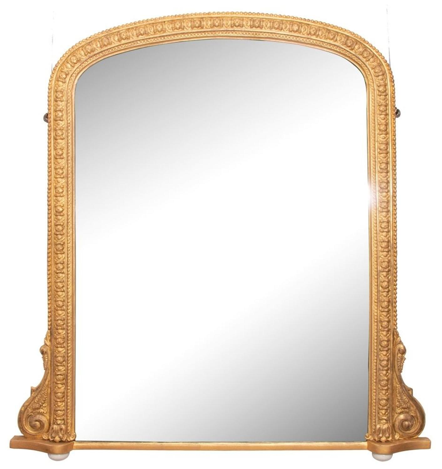 Antique Giltwood Overmantle Mirror c.1880