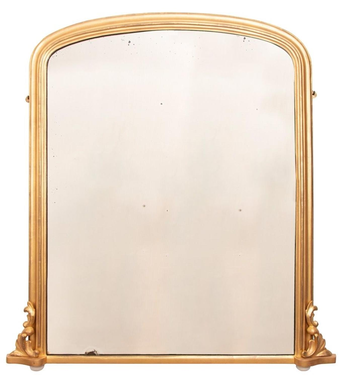 Antique English Giltwood Overmantle Mirror c.1880