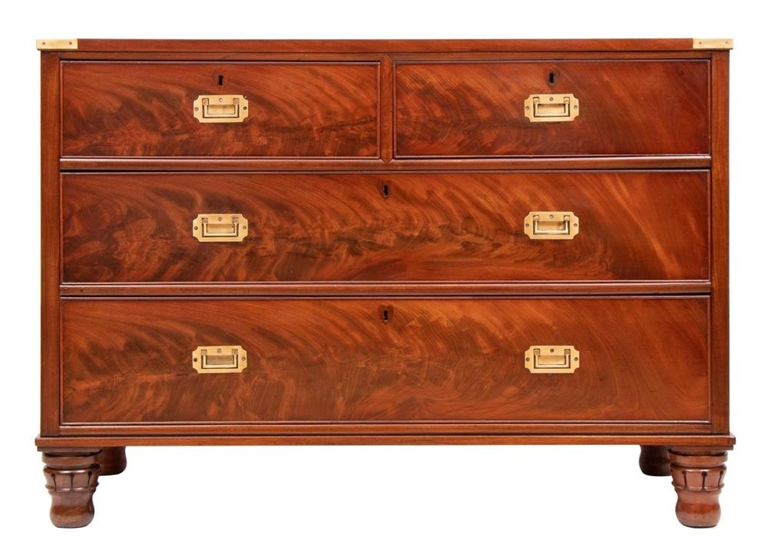 Early Victorian Flame Mahogany Chest of Drawers