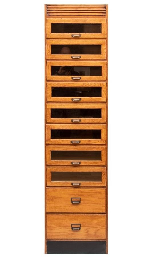 Vintage Style Single Oak Haberdashers Cabinet