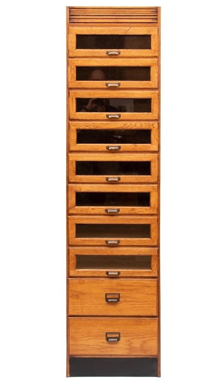 Vintage Style Single Oak Haberdashers Cabinet