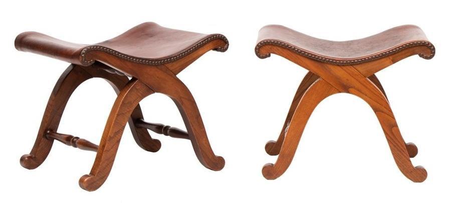 Pair of French Brown Leather Stools by Pierre Lottier