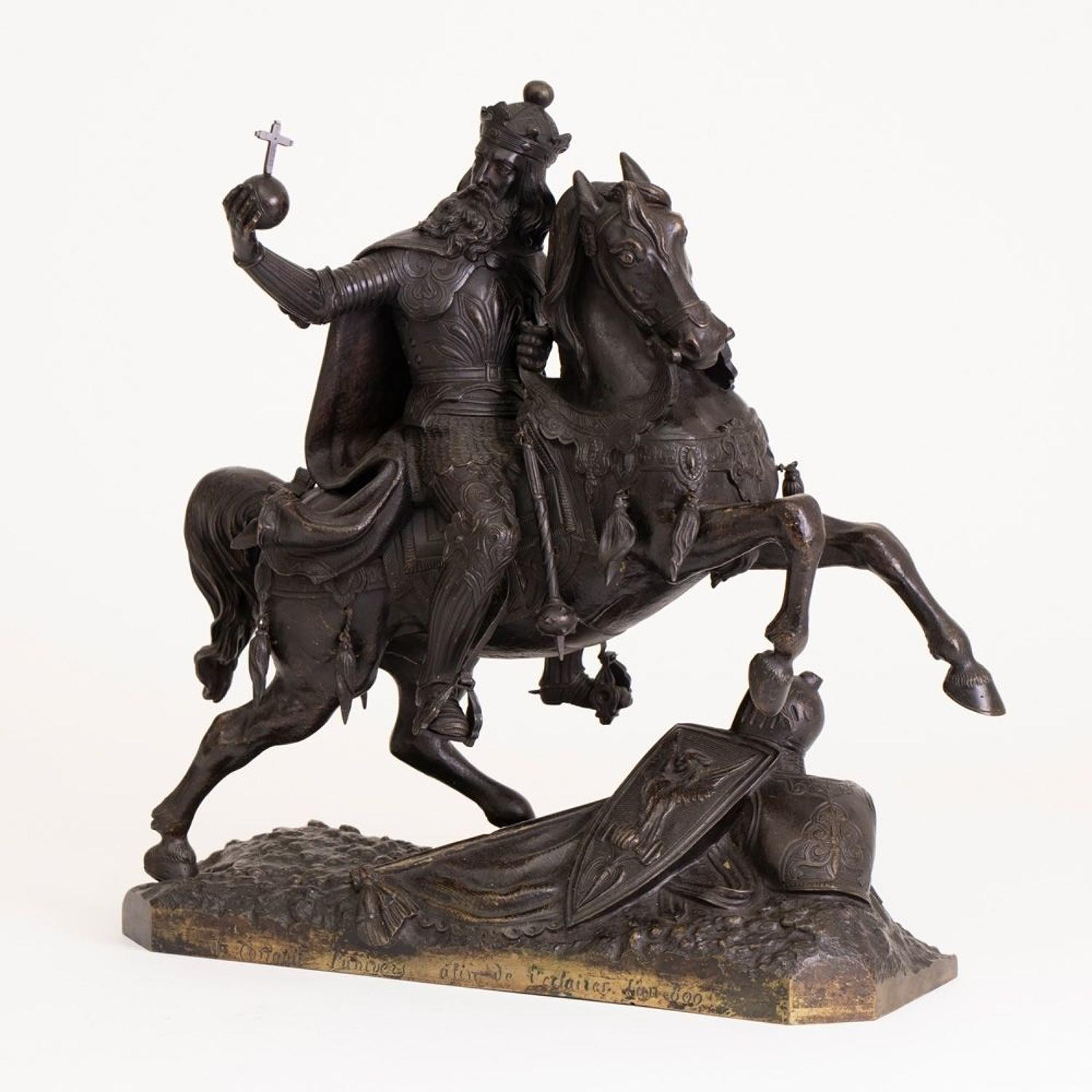 Large French Mid 19th Century Bronze Knight on Horseback