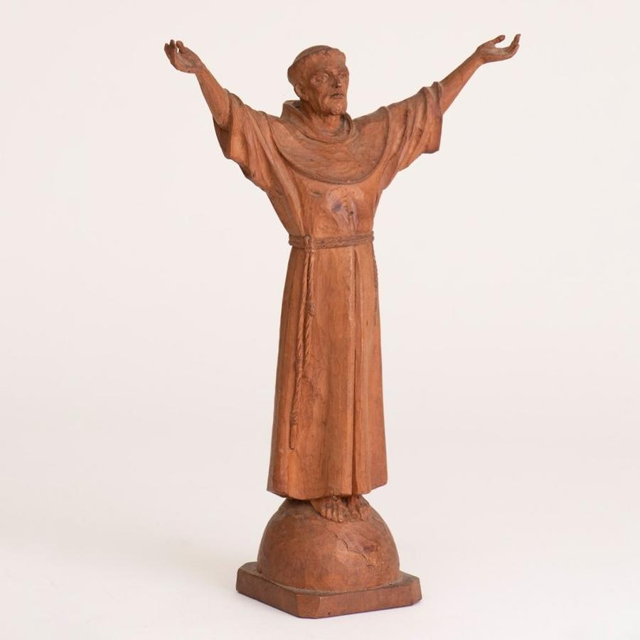 Early 19th Century Carved wooden St Francis of Assisi Statue