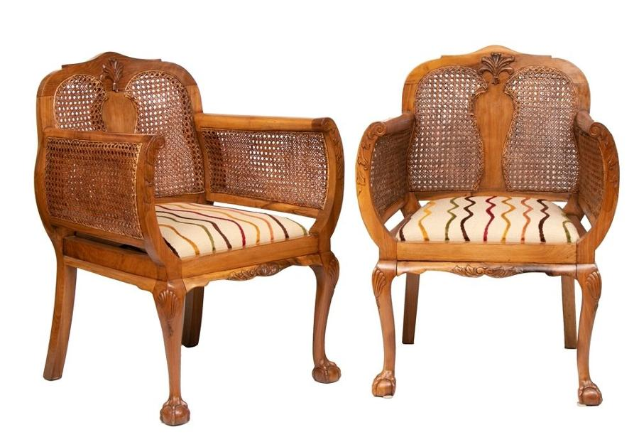 Pair of Early 20th Century Walnut & Bergere Armchairs